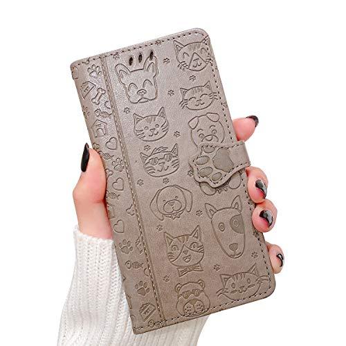 Oihxse Billetera Cuero Funda Compatible con iPhone 12 Pro MAX 6.7'' 2020 PU Libro Tapa Flip Soporte Plegable Protector Magnético Carcasa Gato Perro Lindo Animal Diseño Wallet Case-Gris