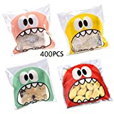 Efivs Arts 400 PCS 4x4 inch Cookie Biscuit Candy Bags Little Monster Self Adhesive Cookie Bakery...