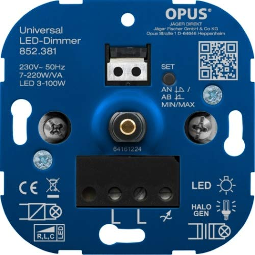 OPUS® Universal-Dimmer für LED-, Glüh- und Halogenlampen Ausführung Universal mit Nullleitererkennung, Watt 7-400 VA/LED 3-130 W