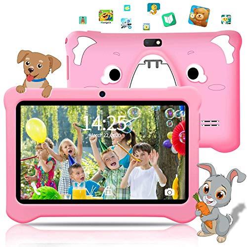 AOYODKG Tablet para niños de 7 Pulgadas, Android 9.0 Pie WiFi, 3GB de RAM 32GB ROM Tablet Android, Educación, Juegos, Control Parental, Google GMS Certificado, Bluetooth, Doble Cámara (Rosado)