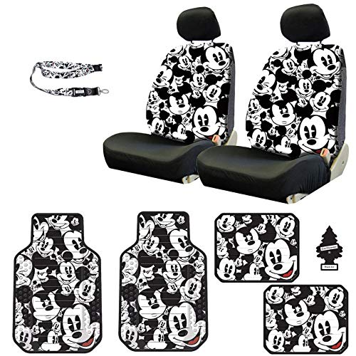 Yupbizauto Disney Mickey Mouse Design Sideless Low Back Car Seat Covers Floor Mats Lanyard Accessories Set with Air Freshener