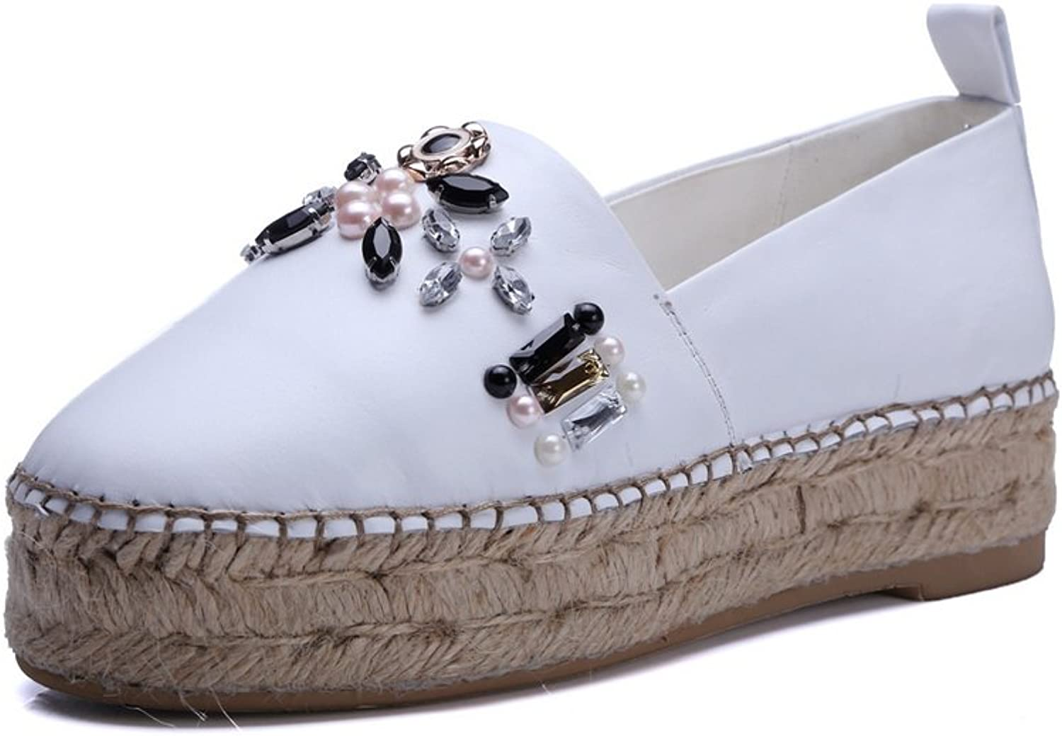 1TO9 Womens Beaded No-Closure Flatform Loafers-shoes Suede Loafers shoes MMS05520