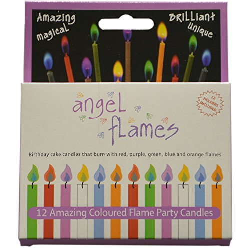 Angel Flames Birthday Cake Candles with Colored Flames (12pcs per Box, Holders Included) (12,...