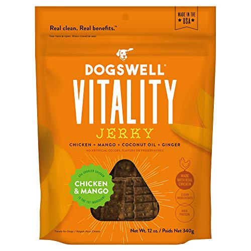DOGSWELL Vitality Chicken & Mango Jerky – Meaty Dog Treats with Mango, Coconut Oil & Ginger to Support Overall Health & Vitality – 12 oz. (29278)
