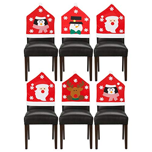 Confezione da 6 Assortiti Natale Coprisedie Decorazione