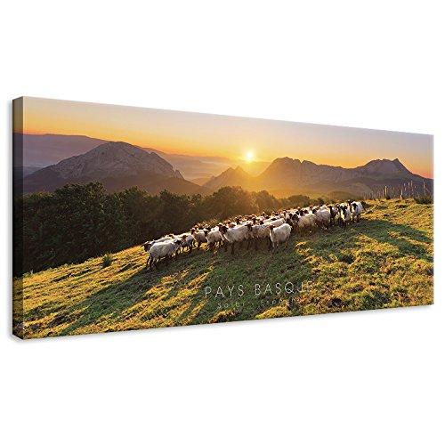 Vertikale Décoration Murale Tableau Toile Coucher de Soleil Montagne Saibi Pays Basque 100 x 40 cm