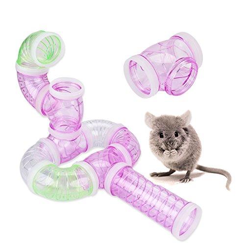 Legendog Juego de 7 tubos de túneles de hámster para jaulas, túnel de juguete multifuncional con anillo de conector