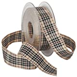 Morex BlackBerry Plaid Ribbon, Natural
