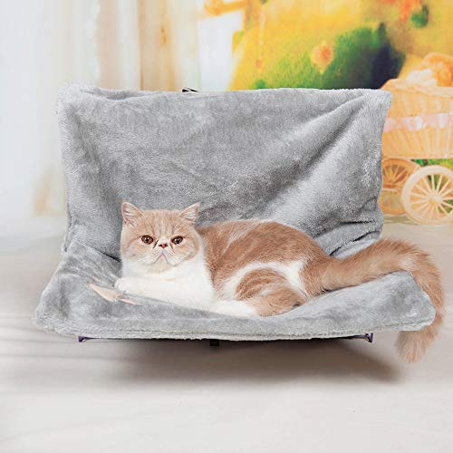 Kat Kitten dier opknoping Radiator Bed - warm fleece mand wieg hangmat sterk en duurzaam metalen frame, Grijs