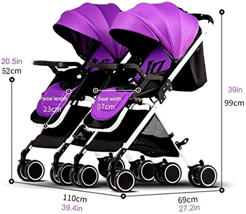 Review Xinhuatian Foldable Twin Baby Stroller, Portable Double Pushchairs Adjustable Backrest Detach...