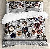 ABAKUHAUS Reloj Funda Nórdica, Varios Pared Relojes de Fotos, Estampado Lavable 3 Piezas con 2 Fundas de Almohada, 200 x 200 cm - 70 x 50 cm, Multicolor