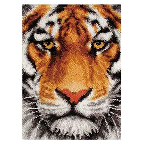 joyMerit Latch Hook Kit, Knüpfteppich Knüpfbild für Kinder, Anfänger und Erwachsene zum Selber Knüpfen Teppiche - Tiger