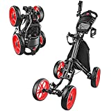 BOBOPRO Golf Push Cart 4 Wheel Lightweight Foldable Golf Pull Trolley with Foot Brake Drink Holder Scoreboard Umbrella Holder Golf Accessories for Practice and Game Gift for Men Women (Red)