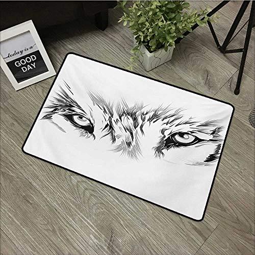 HRoomDecor Tattoo - Felpudo de Goma con diseño de Cabeza de Tigre de la Jungla en Marco de Llamas Negras con Ojos de Gato, Color Negro y Naranja