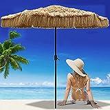 ELLENS Parasol de 2,7 m / 9 pies, sombrilla de Playa de Hawaii, sombrilla de Paja, Color Natural, sombrilla de Patio al Aire Libre, sombrilla de jardín, balcón, 8 Varillas