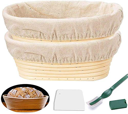 10'' Oval Bread Banneton Proofing Basket 2 Set, Sourdough Rising Baking Bowl Kit, Baking Bowl Dough Gifts for Bakers Proving Baskets, Includes Linen Liner, Dough Scraper, Bread Lame