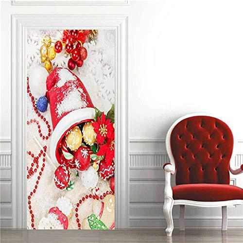 HCCYFRGN 3D Photo Door Murals Christmas Bell PVC Waterproof Self-Adhesive Door Wallpaper Removable Self-Adhesive Murals for Bedroom House Door Living Office - 77X200Cm