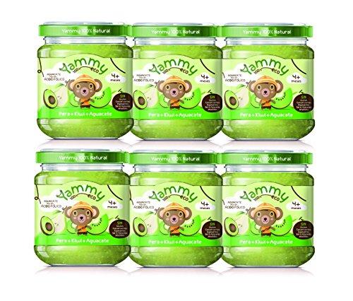 Yammy - Potito ecológico de frutas: Pera+Kiwi+Aguacate Pack 6 Unidades
