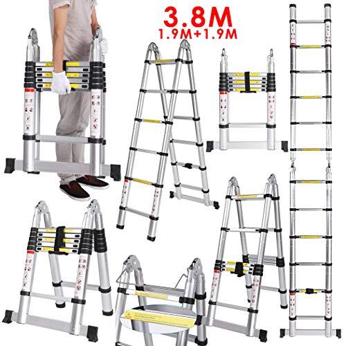 3,8M Teleskopleiter, Ein-Knopf-Rückzug Aluminium Teleskopauszugleiter, Multifunktionsleiter, bis 150 Kg Belastbar (3.8 M 1.9+1.9)