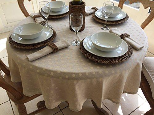 Rond 150 cm Diamètre Lin et Mélange de coton Nappe – Crème à pois/4 places