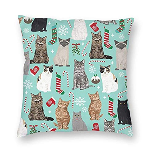 Lsjuee Christmas Cat Candy Cane Stocking Home Decor Throw Pillow Cover, Lightweight Soft Plush Square Decorative Pillow Case 18x18 Inch Cushion Cover, Sham Stuffer, Machine Washable