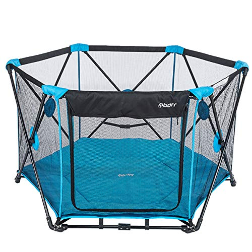 "Abon 53"" x 29"" Baby Playpen Portable Play Yard for Infants and Babies, 6-Panel Washable Mesh Baby Play Pens for The House Indoor Outdoor with Carry Case Blue"