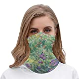 PotteLove Garden In Giverny by Claude Monet Unisex Multifunctional Bandana Neck Gaiter Tube Headwear headkerchief, Motorcycle Face Bandana Headband for Women Men Face Scarf