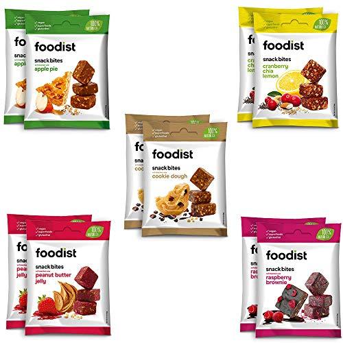 Foodist Snack Bite Probier-Mix Box auf Dattelbasis, Fruchtriegel ohne Zucker-Zusatz, glutenfrei, vegan, Mini Fruchtsnacks - Köstlich für zwischendurch und unterwegs