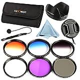 72mm Filter, K&F Concept 72mm Slim Lens Filter Set (Slim FLD+Slim CPL Circular Polarizing+ Slim UV Protector+ Slim Graduated Color Filter Blue+Orange+Gray+ND4) for DSLR Camera Lens