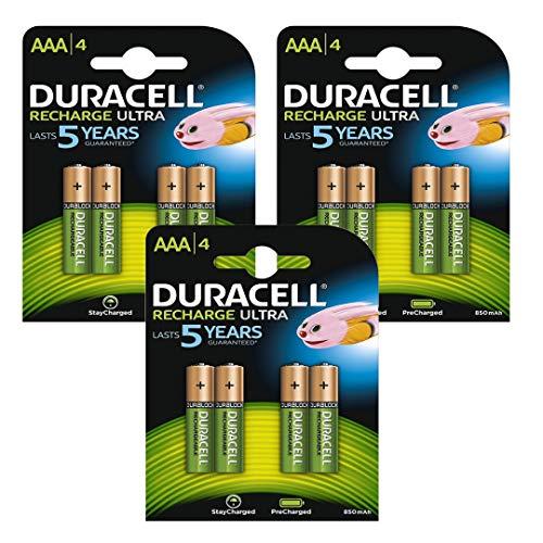 Lot de 12 piles rechargeables AAA Duracell Restant chargées Pré chargées Prêtes à l'utilisation, NiMH, 850mAh 1,2V