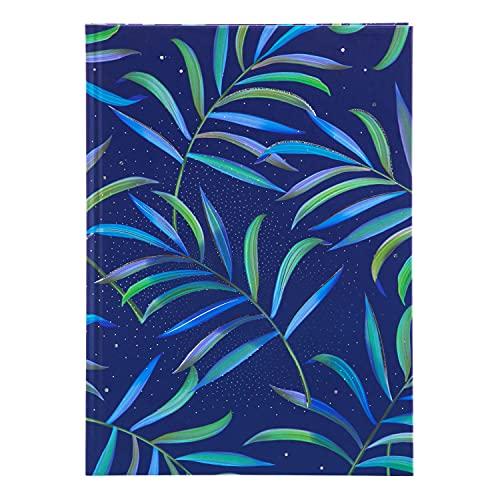 goldbuch 64 365 - Cuaderno DIN A5 Tropical Blue en diseño Turnowsky, con 200 páginas, papel de 100 g/m² en blanco, cubierta de papel de impresión con relieve plateado y marcapáginas, aprox. 15 x 22 cm