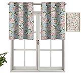 Hiiiman Cenefas de cortina con ojales, cortinas artísticas inglesas, plantas de jardinería, estilo victoriano antiguo, con lunares, juego de 2, 42 x 36 pulgadas para ventana de cocina