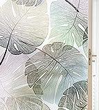 XKLHXFY Vinilos para Ventanas 3D Hojas de plátano de Colores Efecto Semi-Privacidad Vinilo Ventana de Calor Control y Anti UV para Baño Oficina, Hogar 44.5 x 200 cm