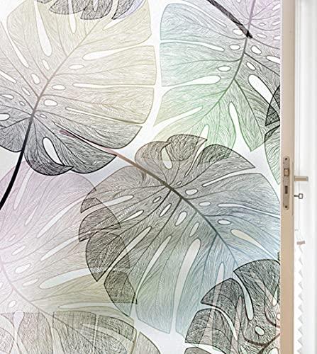 Fensterfolie Selbsthaftend Blickdicht Sichtschutzfolie Blätter Fenster Milchglasfolie Statische Fensterfolien Anti-Uv Folie Für Zuhause Badzimmer Oder Büro 60X200Cm