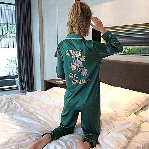 XFLOWR Flamingo Frühling und Sommer Liebhaber Seide Nachtwäsche Langarm Herren Set Seidendruck Dünn Lounge Pärchen Pyjama Frauen Pyjama, grün, L