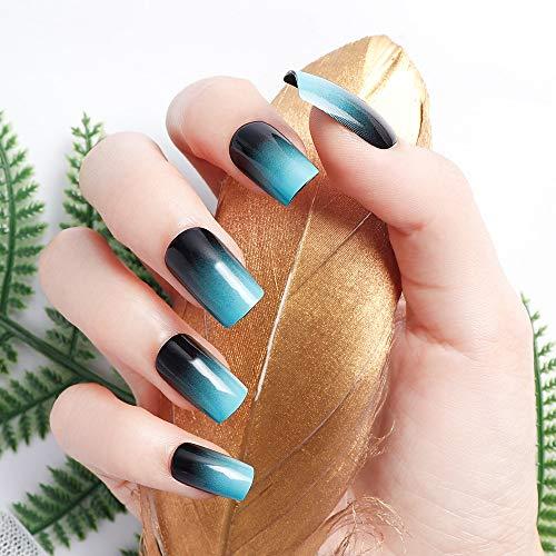LIARTY 24 Pcs Dégradé Bleu Faux Ongles Longs Acrylique Couverture Complète Carré Faux Ongles Conseils