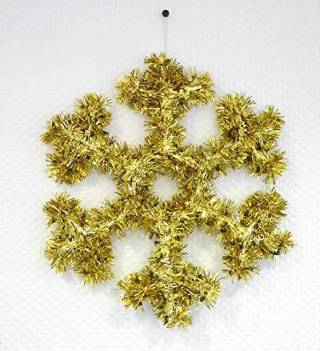 Urban Design Fensterdeko Fenster Dekoration Schneeflocke 32 cm Glitzer Glanz Lametta Deko Weihnachten (Gold)
