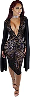 False Long Sleeve Deep V-Neck Sequins Club Dress