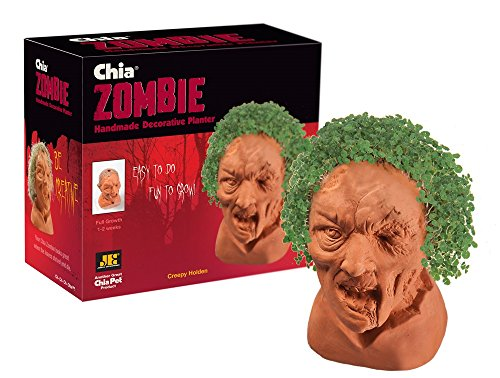 Chia Pet Zombie -Creepy Holden with Seed Pack, Decorative Pottery Planter, Easy to Do and Fun to Grow, Novelty Gift, Perfect for Any Occasion
