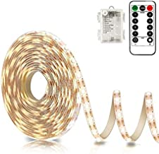 Battery Powered Led Strip Lights with Remote Warm White, 8 Modes, Dimmable, Timer, Self-Adhesive, Cuttable, Waterproof, 9.8FT 90Led Strip Lights for TV Kitchen Cupboard Bedroom Decor