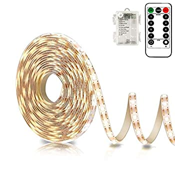 Battery Powered Led Strip Lights with Remote Warm White 8 Modes Dimmable Timer Self-Adhesive Cuttable Waterproof 9.8FT 90Led Strip Lights for TV Kitchen Cupboard Bedroom Decor