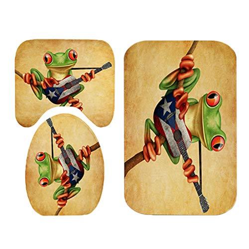 TEET Badematten Set Frosch Spielen Gitarre Muster Badezimmer Duschvorhang Anti-Skid Bad Teppich Teppiche Toilettensitzabdeckung Badmatte Set (Color : Brown, Size : One Size)