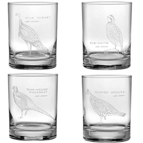 Ned Smith Upland Gamebirds 14-Ounce (DOF) Double Old Fashioned Glass Assorted Set of 4