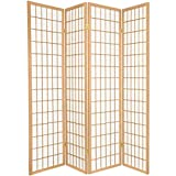 Legacy Decor 4-Panel Room Screen Divider, Natural Color