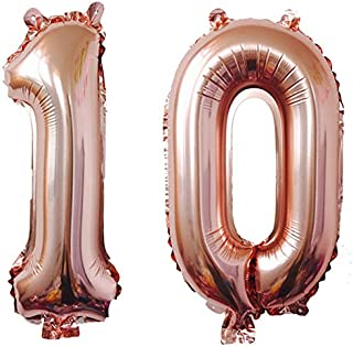 KEYYOOMY 40 in Number 10 Balloons Rose Gold for Sweet 10 Birthday Party Decorations (Number 10, 40 in, Rose Gold)