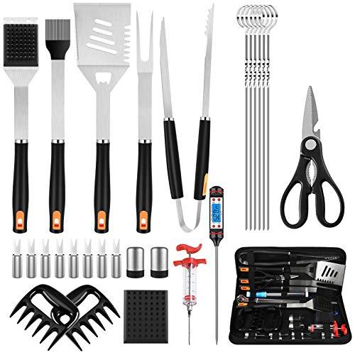 Juego de herramientas para barbacoa, 28 piezas, accesorios de acero inoxidable resistentes para barbacoa con bolsas de almacenamiento