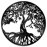 """Steel Roots Decor Metal Black Tree of Life Wall Art - Powder Coated Laser Cut Holes - Indoor and Outdoor Home Bedroom or Kitchen Decorations, Modern Wall Sculpture Art Round for Living Room – 18"""""""