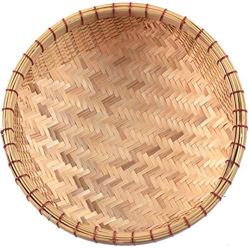 Cesta de bambú natural | cestas de mimbre en uso de cesta de frutas, cestas de pan para servir, cestas de pan para mesa, cesta poco profunda, cesta redonda de mimbre | cesta de frutas