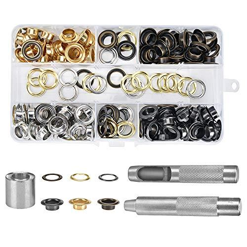 Grommet Werkzeug Kit 10 mm(2/5 Zoll) Tülle Ösen Scheiben Ösenzange Set 100Pcs Grommet Einstell Werkzeug und 100 Sets Grommet Ösen mit Aufbewahrungsbox