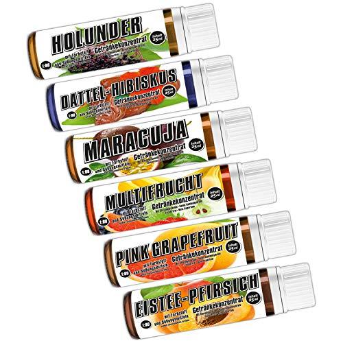 C.P. Sports Getränkekonzentrat 25ml Probe – 6 Geschmäcker Test Mix G – zuckerfrei, kalorienfrei, aspartamfrei – Verhältnis 1:80 – L-Carnitin, Vitamine – Sport Konzentrat Sirup Getränkesirup